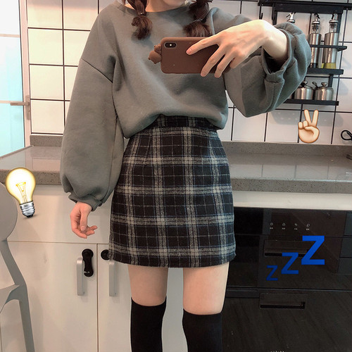 チェック柄 スカート レトロ ミニ丈【17224】
