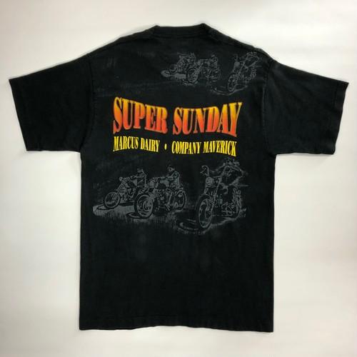 レアプリント 90's ビンテージ ビッグサイズ ハーレーダビッドソン ショルダープリント Tシャツ 黒 ブラック ハーレー バイカー 表記Lサイズ 1995
