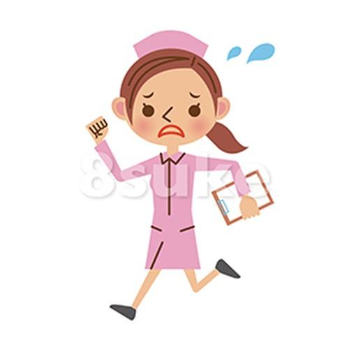 イラスト素材:慌てる様子で走る看護師(ナース)(ベクター・JPG)
