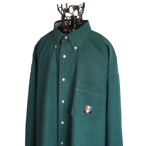 1990's [TOMMY HILFIGER] リネン×コットン ボタンダウンシャツ グリーン 表記(XL) オールド トミーヒルフィガー