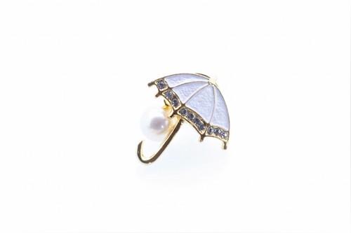 アコヤ真珠 ピンブローチ〈アンブレラ〉ホワイト