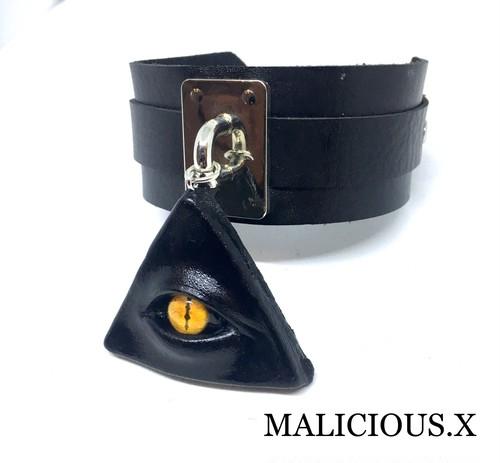 devil reptelis eye big choker / yellow(silver)