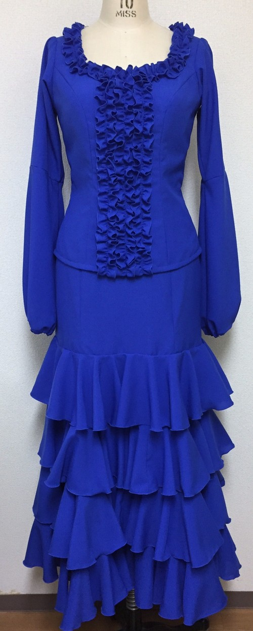 フラメンコ衣装*ツーピース(ブルー)★超軽量★