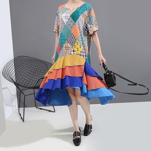 ワンピース 不規則デザイン 半袖 韓国ファッション レディース ラウンドネック ゆったりウエスト ハイウエスト 大人カジュアル 大人可愛い