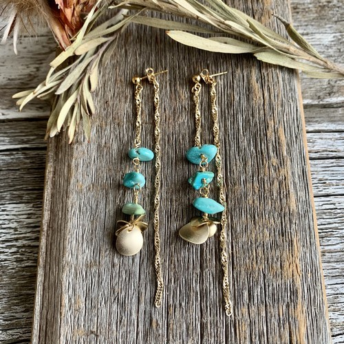 <14KGF> sleeping  beauty turquoise チェーンピアス  ✳︎ ターコイズ