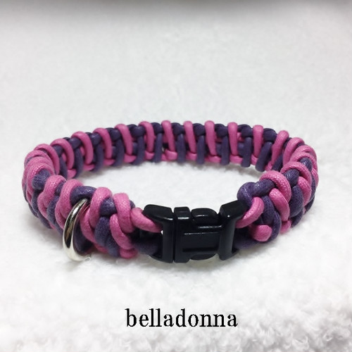 パープル&ホットピンクのマクラメ編み綿ロープ首輪