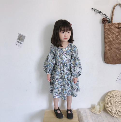 ミモレ丈スカート花柄キッズワンピース ブルー
