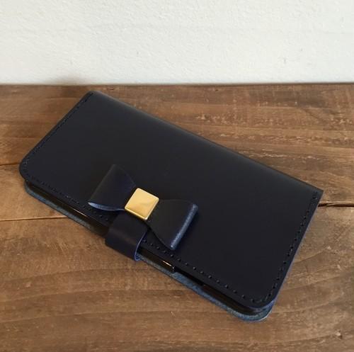 iPhoneケース 手帳型 リボン *革の宝石ルガトー iPhoneX/8/7/6・6s/5・5s・SEケース iPhone5/5s/6/SE変更可 本革/ヌメ革/レザー/スマホケース