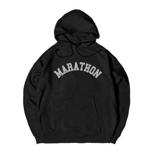 COLLEGE LOGO M HOODIE M381505-BLACK / フード スウェット パーカー 黒 MARATHON JACKSON マラソン ジャクソン