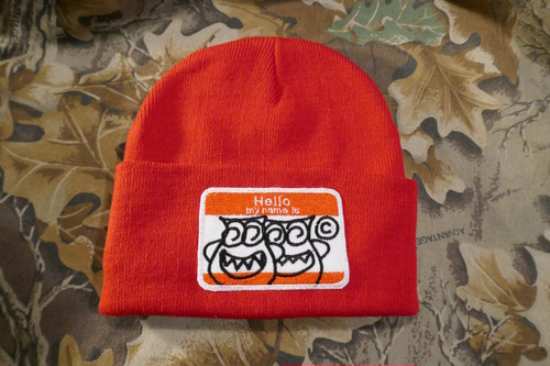 HELLO RED KNIT CAP
