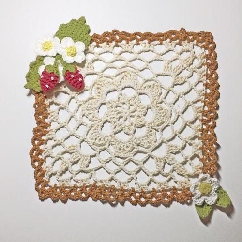 手編みコットンドイリー いちご