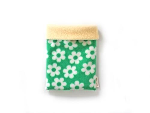 ハリネズミ用寝袋 S(冬用) フリース×フリース フラワー グリーン