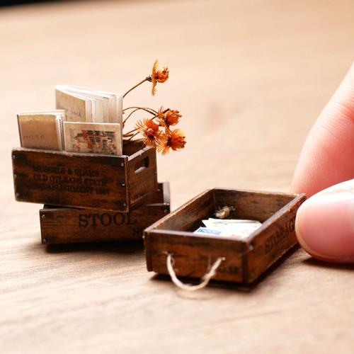 DIY ミニチュア ドールハウス 手作りキット miniature dollhouse kit 木箱⓸ L-017
