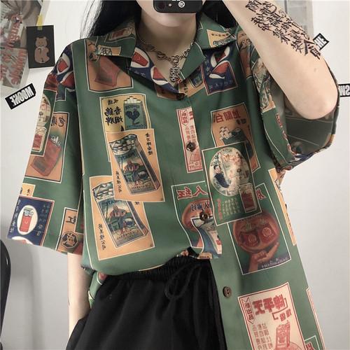 レトロ オシャレ カジュアル POLOネック 半袖 プリント柄 トレンド ゆったり カラーブロック シャツ・トップス