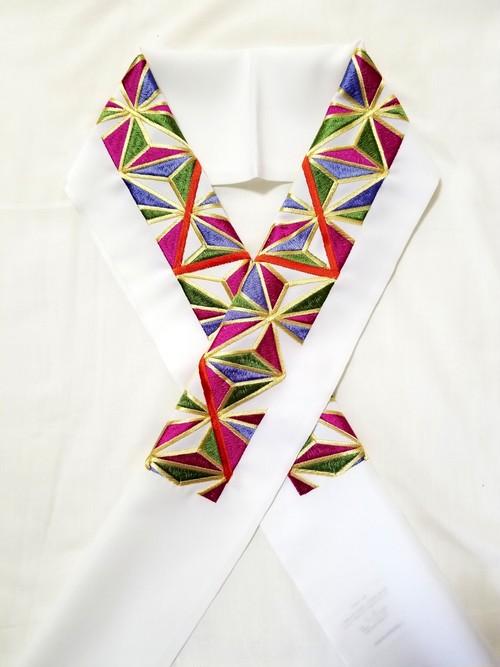 半襟 麻の葉刺繍 白