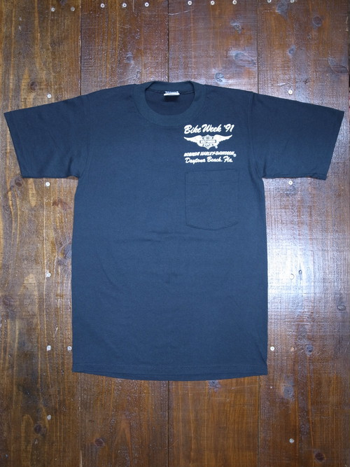 90's JERZEES Harley-Davidson 胸ポケ付き ROBISON T-Shirts(黒)DEAD STOCK ⑯