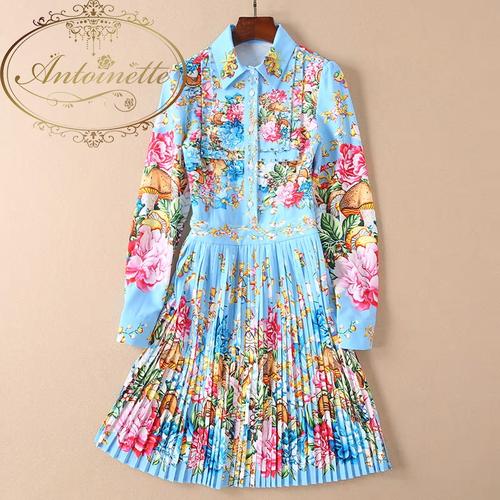 Women Colorful Print Turn-down Collar Manual Diamonds Slim Long Sleeve Elegant Pleated Dress
