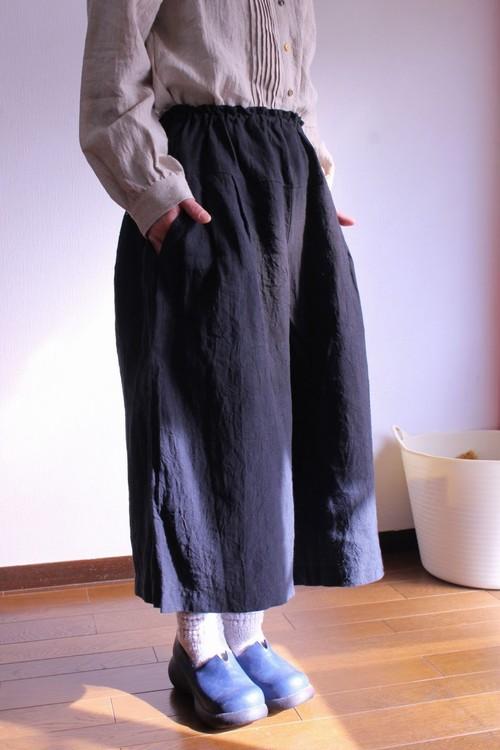ワッシャーリネンキュロットスカート(黒)