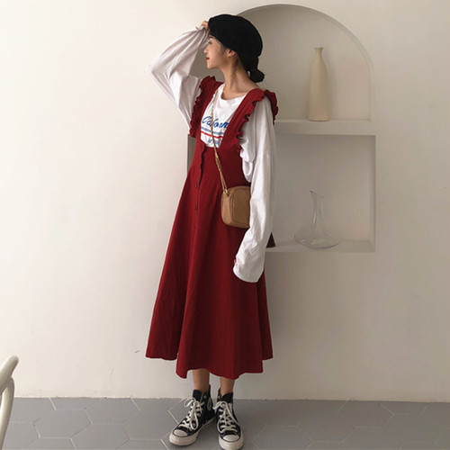 【お取り寄せ商品】レトロカジュアルジャンパースカート 7659