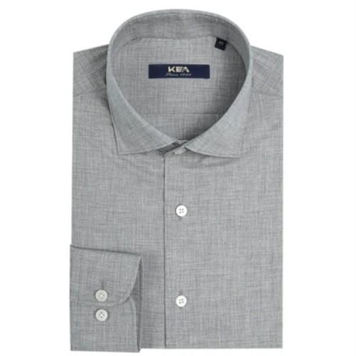 送料無料メンズ/ビジネスコーデ/グレー/青/コットン長袖ワイシャツ