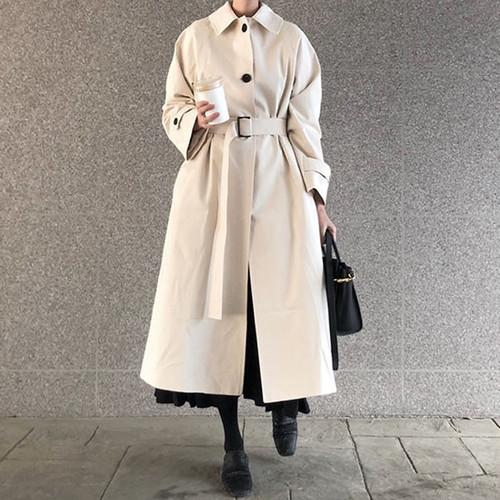 2色 ロング丈コート アウター ステンカラーコート 春 秋 冬 シンプル レディース ファッション 韓国 オルチャン
