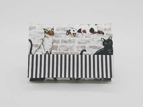猫×ボーダー♪ふた付きポケットティッシュケース♪グレー