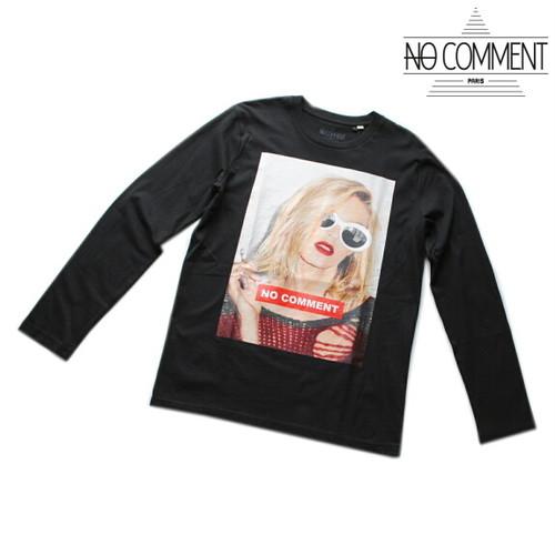 NO COMMENT PARIS ノーコメント パリ Tシャツ 長袖 クルーネック ロンT メンズ 正規販売店 LTN163 ブラック