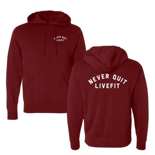 LIVE FIT Never Quit Hoodie- Cardinal