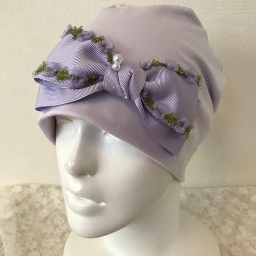 お花ブレードとパールのケア帽子 ラベンダー