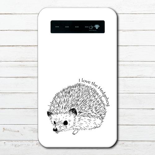 #053-008 モバイルバッテリー おすすめ iPhone Android かわいい おしゃれ 男性 向け 動物 ハリネズミ スマホ 充電器 タイトル:ハリネズミモバイルバッテリー 作:Hanami