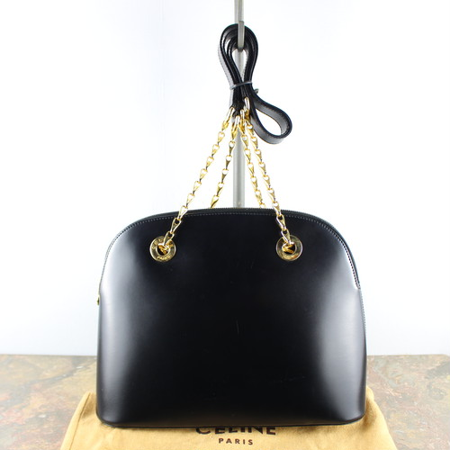.VINTAGE CELINE DOME TYPE CHAIN LEATHER SHOULDER BAG MADE IN ITALY/ヴィンテージセリーヌドーム型チェーンレザーショルダーバッグ2000000051888