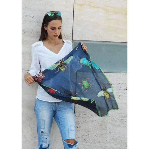 SilkandMore バグブルーシルクスカーフ 75cm