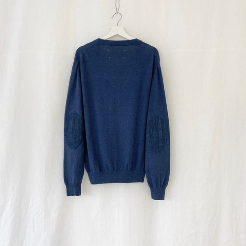 MAISON MARTIN MARGIELA 14 elbow patched cotton cardigan blue×denim indigo