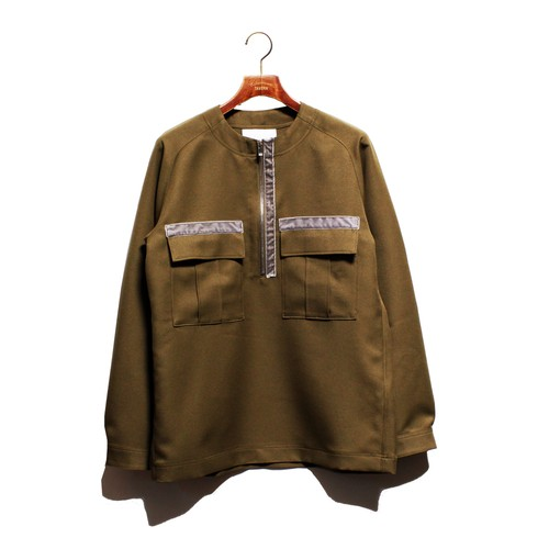 Enharmonic TAVERN No Collar Half Zip Shirt -khaki <LSD-AH3S3>