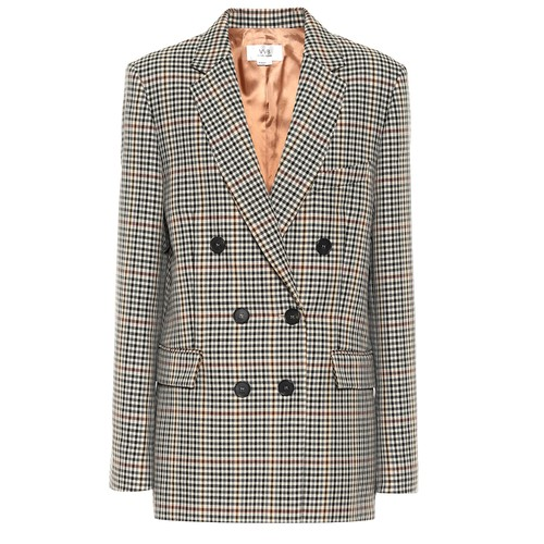 VVB  BUTTON DETAIL WOOL CHECK COAT