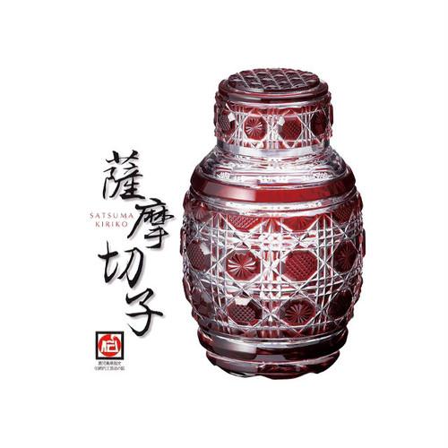 【- 薩摩切子 -】復元 蓋付壺 銅赤 鹿児島 送料無料!