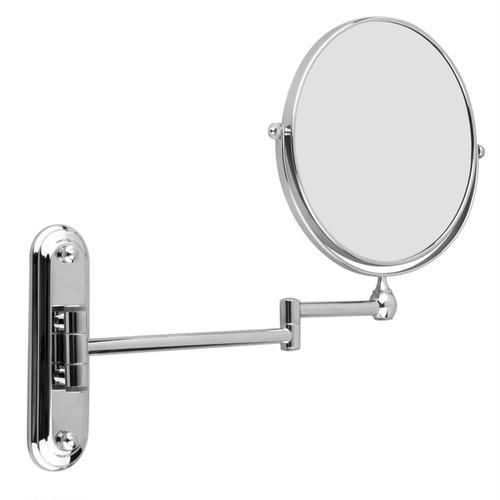 JUCK アームミラー 拡大鏡 5倍 折りたたみ 伸縮ミラー 円形 鏡 洗面台に壁付け シェービング、メイクに便利