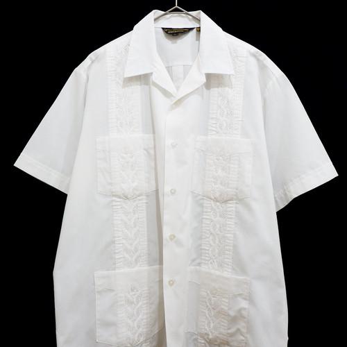 """アメリカ古着 Guayabera キューバシャツ """"ホワイト"""""""