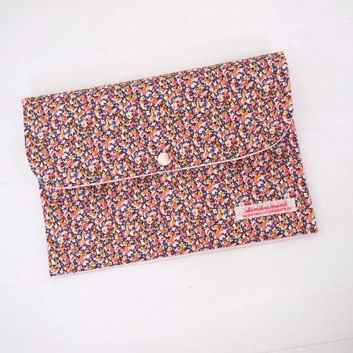 リバティ 母子手帳ケース ペッパー/オレンジ&ピンク Lサイズ