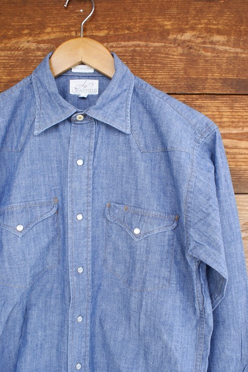 "J.WINGFIELD ""CAROLINA INDIGO BLUE WASHED SNAP SHIRT WITH GOLD STITCHES"""
