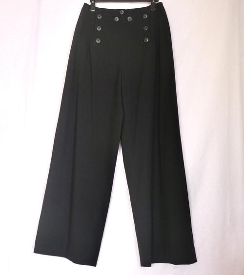 CHANEL Marine Style Wool Wide Pants -Black-