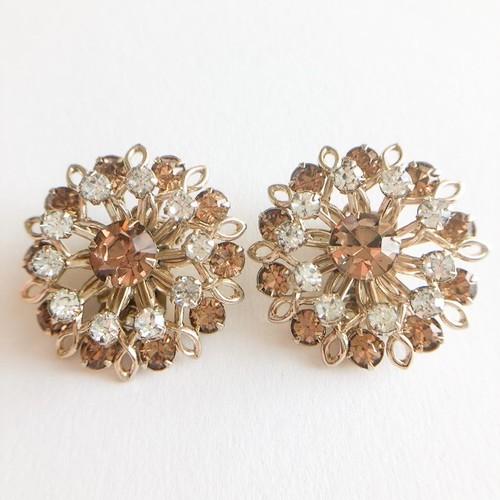 brown rhinestone flower earring[e-1094]