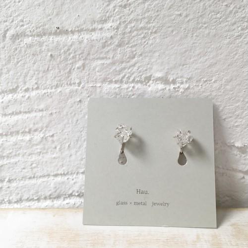 【Hau.】glass×silver earring(silver925ポスト)