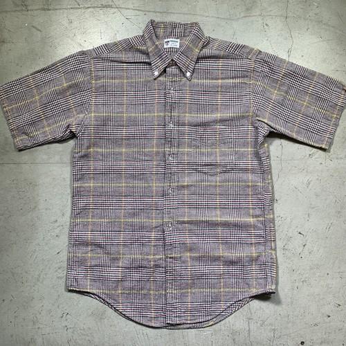 60's  DONEGAL ドネガル コットンチェックBDシャツ 3点留め 半袖  マルチカラーMEDIUM 希少 ヴィンテージ BA-1533 RM1952H