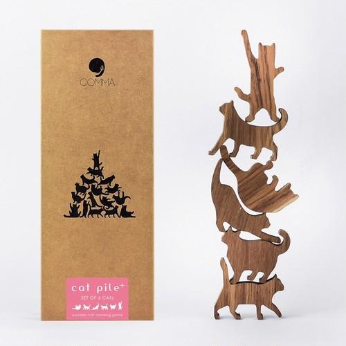 Cat Pile Plus【ピンクラベル】地味にはまる!大人のつみき 色んなポーズのネコの積み木(大) 全2種類(A73007)