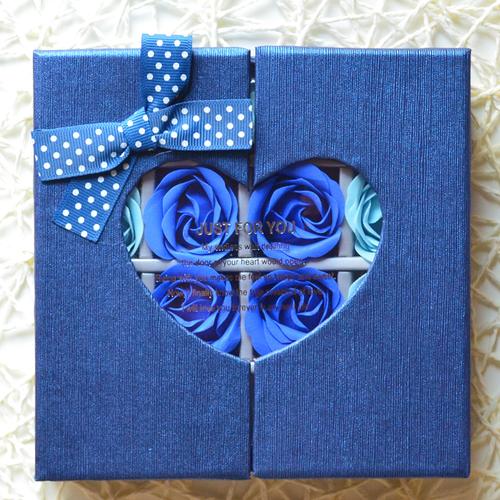 フラワーソープハートBOX(ブルー)