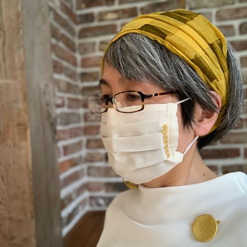 オリジナルプリーツマスク「金箔レースまるまるG」医化学的繊維と銀の糸を使った抗菌防臭