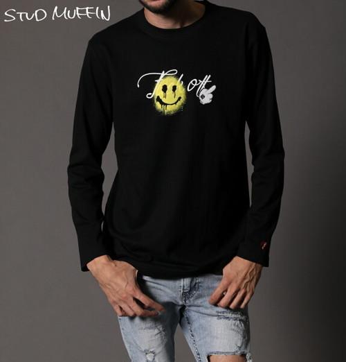 STUD MUFFIN スタッドマフィン ロンT プリント 長袖 Tシャツ メンズ トップス ブラック