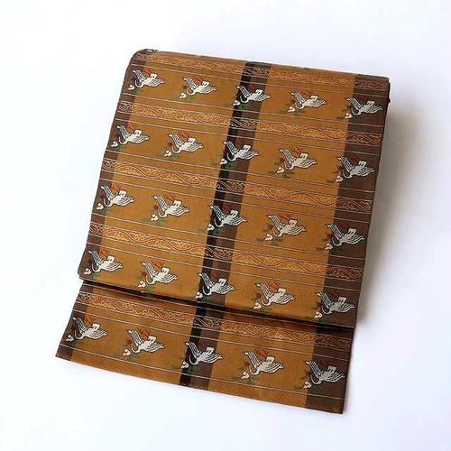 1664 あらいそ謹製◆雲鶴段紋本袋帯