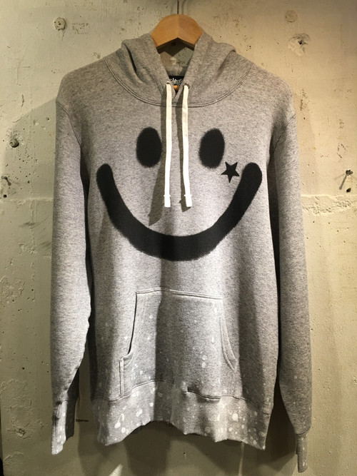 RAKUGAKI BIG SMILE PAINT & Damage Parka Heather Grey x Black